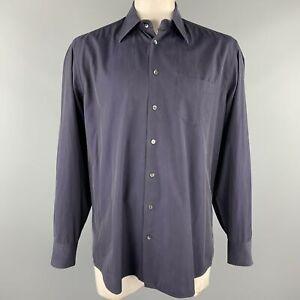 DOLCE & GABBANA Size XL Navy Cotton Button Up Long Sleeve Shirt