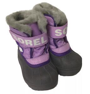 Sorel Boots Toddler Snow Commander Girls Purple Winter Size 5 NEW
