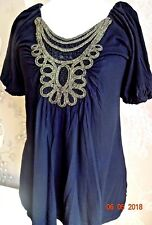 💕Stunning MONSOON FUSION  Black Puffed Sleeve T Shirt with Gold Embroidery 14
