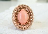 New Dallas Prince Rose Gold Sterling Silver Pink Coral Bamboo HUGE Ring Size 10