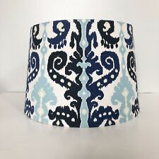 Set of 2 Lamp Shades Ikat Multicolor Boho Blue White Tapered Drum
