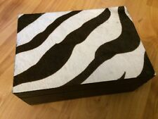 POTTERY BARN ZEBRA PATTERN HAIR KNICK KNACK TRINKET BOX