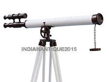 Royal Standing Bronzed With White Leather Griffith Astro Telescope home decor