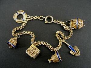 Charm Bracelet Gold Vermeil over Sterling Silver Vintage Enamel Accents Cruise
