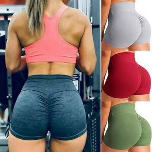 Women High Waist Gym Shorts Butt Lift Yoga Pants Ruched Fitness Sports Running