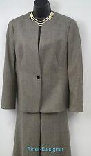 WORTH 2 Pc pant Suit Pants Jacket Blazer crop B&W tweedy wool blend SIZE 14 VTG