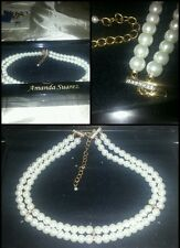 AMANDA SUAREZ collier perle e strass pearl necklace with rhinestone scatola box