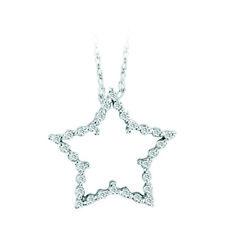 ".25ctw Diamond Star 14k White Gold Necklace 18"" Genuine Diamonds Handmade in USA"