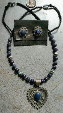 Lot Vintage Native American Sterling Silver Blue Lapis Necklace/Earring On Sale.