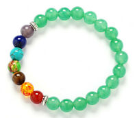 8mm Green Crystal 7 color chakra Bracelet Monk energy Chakas Spirituality cuff