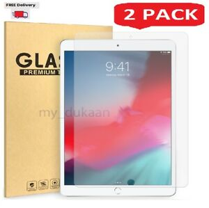 """For Apple iPad 7 10.2"""" (2019) A2197 A2198 Tempered Glass Screen Protector 2Pack"""