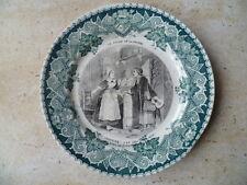 ANCIENNE ASSIETTE PARLANTE EN DEMI PORCELAINE DE LUNÉVILLE 18 cm