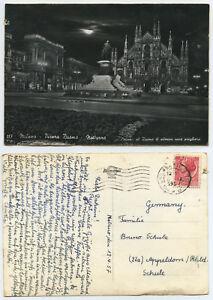 54018 - Milano - Piazza Duomo notturno - Echtfoto - AK, gelaufen 12.4.1957