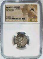 C. Norbanus Roman Republic NGC AU Ancient Silver Denarius Venus Fasces Caduceus