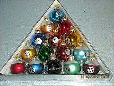 "Kurt. S. Adler GLASS BILLIARDS POOL TABLE BALLS CHRISTMAS ORNAMENT SET 2"" Bulbs"
