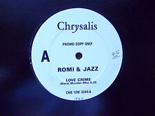 "ROMI & JAZZ LOVE CRIME 12"" PROMO SINGLE 1989 EXCELLENT"