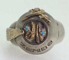 7970b4602 Masonic Shriner Antioch Turquoise & Diamond Gold & Sterling Silver Mens'  Ring