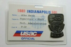 Indy 500 Silver Pit Badge and USAC Credential 1989