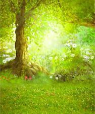 GREEN SUNNY FAIRY FOREST FLOWER WOODS BACKDROP VINYL PHOTO PROP 5X7FT 150x220CM