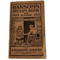 Ransom's Almanac & Receipt Book 1920~1921 Buffalo NY Recipes~Remedies~Ointments