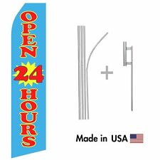 Blue Open 24 Hours Econo Flag 16ft Advertising Swooper Flag Kit with Hardware
