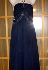 Bridesmaid/Prom Gown- Midnight Blue w/Silver and Jewel Embroidery - *MUST LOOK