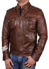 Men leather biker Jacket Vintage mens leather Retro Distressed Slim Fit biker