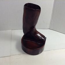 Carved wooden Western Cowboy Boot Jewelry Holder