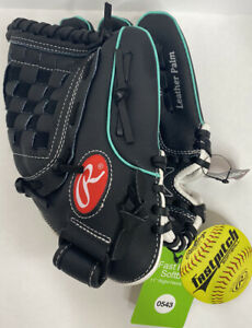 (1) Rawlings WFP110MT Softball LHT Glove Leather 11.5in Black and Teal NWT!!