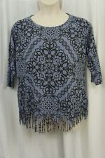 INC International Concepts Top Sz 0X Blue Black Russian Rose Fringe Casual Top
