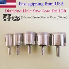 20mm-38mm 5PCS Diamond Coated marble Ceramic Tile Hole Saw Drill Bits set tool