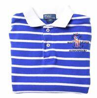 POLO RALPH LAUREN Boys Polo Shirt 7-8 Years Small Blue Striped Cotton  U020