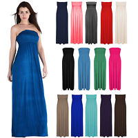 New Ladies Sheering Boobtube MAXI Plain Bandeau Long Summer Strapless Dress 8-26