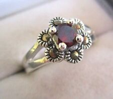 Solid Silver Red Cubic Zirconia and Marcasite Ring Art Deco Style Size N 1/2