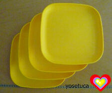 Tupperware Free Shipping New 4 Dishes Square Classic Plates Raised Edges