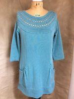 SOFT SURROUNDINGS Sweatshirt Knit SWEATER NECKLINE DRESS Tunic MODAL Turquoise S