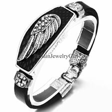Black Silver Tone Vintage Retro Angel Wing Cool Mens Boys Leather Cuff Bracelet
