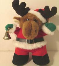 "Santa Moose Stuffed Animal Animated and Plays ""Sleigh Ride"" Plush Gemmy"