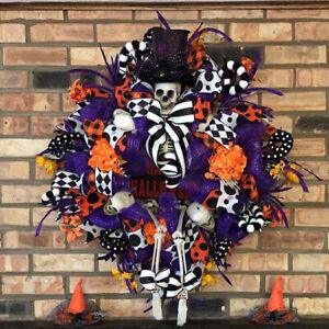 Halloween Wreath Cool Skull Doll Door Hang Party Home Decoration Hot Sale