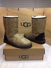 UGG Australia Classic Short Leopard Metallic Print Calf Hair Boot Size 8 US