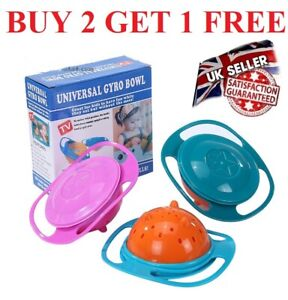 Baby Kids Feeding Bowl 360 Rotate Cute Baby Gyro Bowl Universal Spill-Proof Bowl