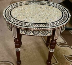 Antique wood End Table Inlaid Mother of Pearl