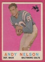 1959 Topps Football # 62 Andy Nelson -- Baltimore Colts -- Box 708-147