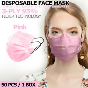 [50 PCS] Pink Disposable Face Mask Non Medical 3-Ply Earloop Dust Cover Masks