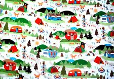 """CAMPGROUND/TRAILERS/TENTS/TREES/ANIMALS ON WHITE FLANNEL MATERIAL 2 YDS 42x72"""""""