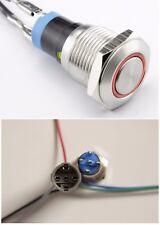 LED Starterknopf rot Start Knopf Startknopf 16 mm mit Fassung und Kabelbaum 15cm