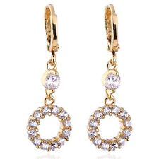 Vintage Womens Yellow Gold Filled Circle Crystal Drop Earrings Earings