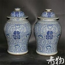 A pair of blue and white porcelain vase in ancient qianlong products