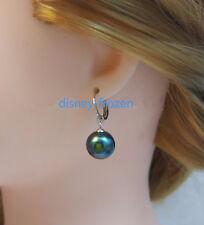 Goregous AAA+ 10-11MM real natural South sea black pearl dangle earrings 925s