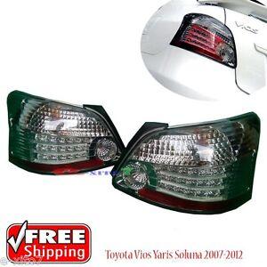 Led Tail Body Light Rear Lamp Smoke Vios Yaris Sedan Belta 2007-2012 Pair New